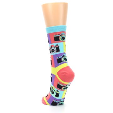 Image of Multi-color Pastel Retro Camera Women's Dress Sock (side-2-back-16)