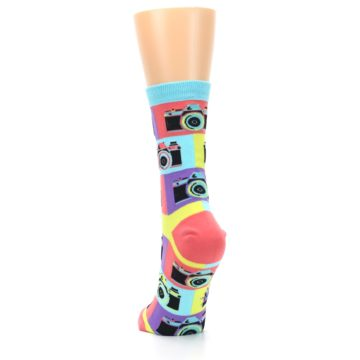 Image of Multi-color Pastel Retro Camera Women's Dress Sock (back-17)