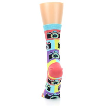 Image of Multi-color Pastel Retro Camera Women's Dress Sock (back-18)