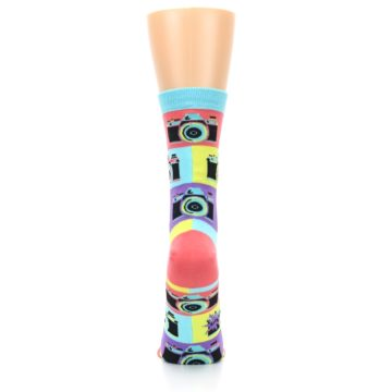 Image of Multi-color Pastel Retro Camera Women's Dress Sock (back-19)