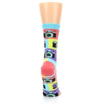 Image of Multi-color Pastel Retro Camera Women's Dress Sock (side-1-back-20)