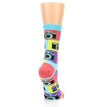 Image of Multi-color Pastel Retro Camera Women's Dress Sock (side-1-back-21)