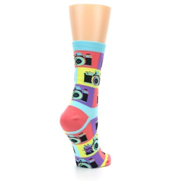 Image of Multi-color Pastel Retro Camera Women's Dress Sock (side-1-back-22)