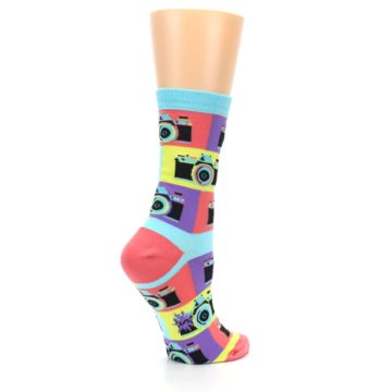 Image of Multi-color Pastel Retro Camera Women's Dress Sock (side-1-23)