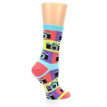 Image of Multi-color Pastel Retro Camera Women's Dress Sock (side-1-24)