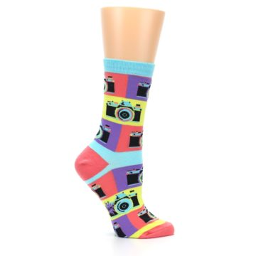 Image of Multi-color Pastel Retro Camera Women's Dress Sock (side-1-25)