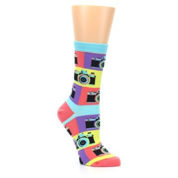 Image of Multi-color Pastel Retro Camera Women's Dress Sock (side-1-27)