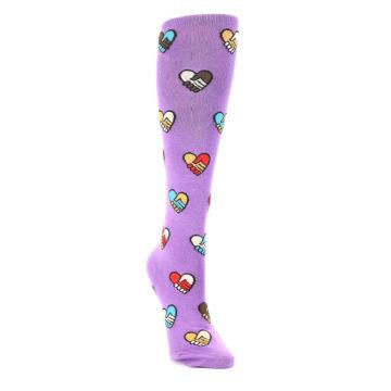 Image of Purple Handshake Hearts Women's Knee High Sock (side-1-front-02)