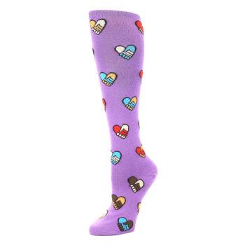 Image of Purple Handshake Hearts Women's Knee High Sock (side-2-09)