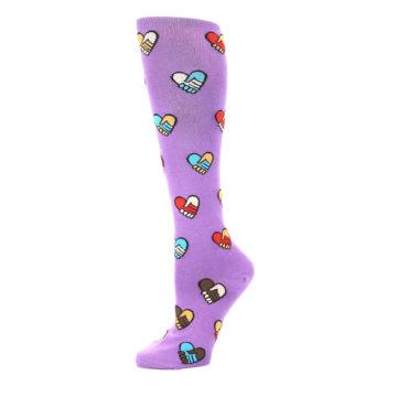 Image of Purple Handshake Hearts Women's Knee High Sock (side-2-10)