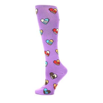 Image of Purple Handshake Hearts Women's Knee High Sock (side-2-12)