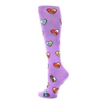 Image of Purple Handshake Hearts Women's Knee High Sock (side-2-back-14)