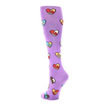 Image of Purple Handshake Hearts Women's Knee High Sock (side-2-back-15)