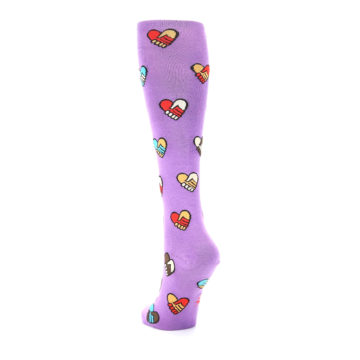 Image of Purple Handshake Hearts Women's Knee High Sock (side-2-back-16)