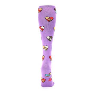 Image of Purple Handshake Hearts Women's Knee High Sock (back-19)