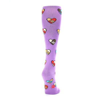 Image of Purple Handshake Hearts Women's Knee High Sock (side-1-back-20)