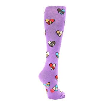 Image of Purple Handshake Hearts Women's Knee High Sock (side-1-back-22)