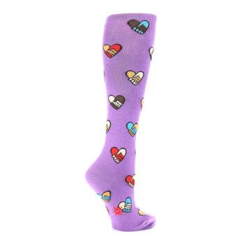 Image of Purple Handshake Hearts Women's Knee High Sock (side-1-23)