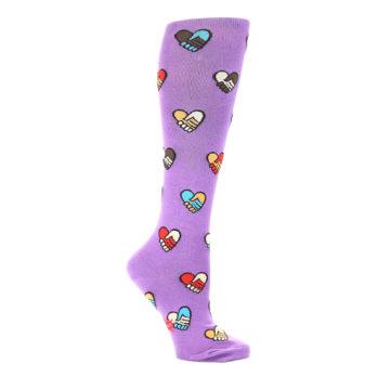 Image of Purple Handshake Hearts Women's Knee High Sock (side-1-25)
