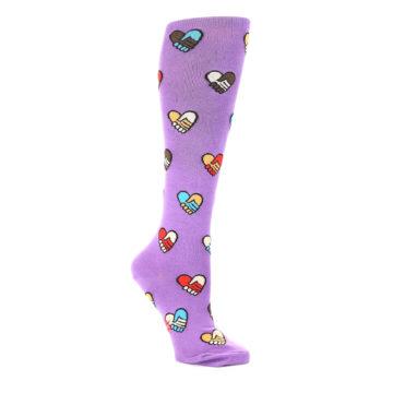 Image of Purple Handshake Hearts Women's Knee High Sock (side-1-26)