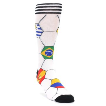Image of White World Flag Soccer Men's Dress Socks (side-1-front-02)