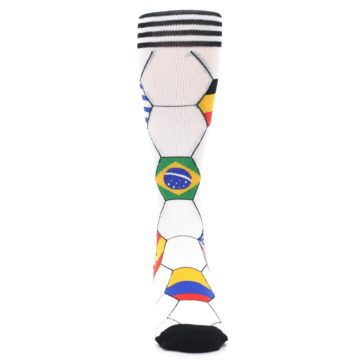 Image of White World Flag Soccer Men's Dress Socks (front-04)