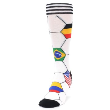 Image of White World Flag Soccer Men's Dress Socks (side-2-front-06)