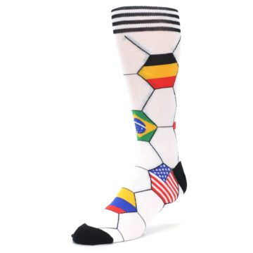 Image of White World Flag Soccer Men's Dress Socks (side-2-front-08)