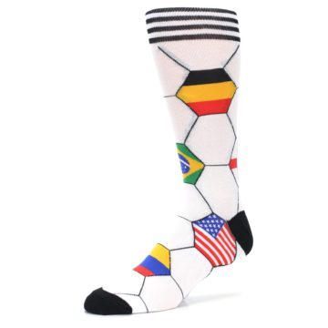 Image of White World Flag Soccer Men's Dress Socks (side-2-09)