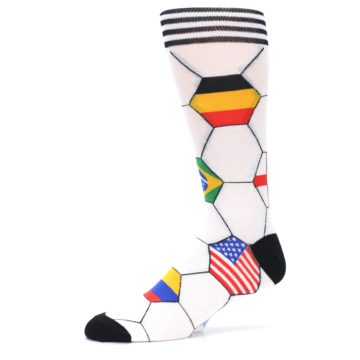 Image of White World Flag Soccer Men's Dress Socks (side-2-10)