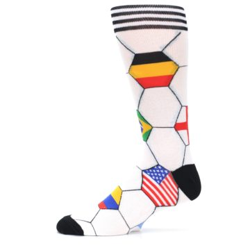 Image of White World Flag Soccer Men's Dress Socks (side-2-11)