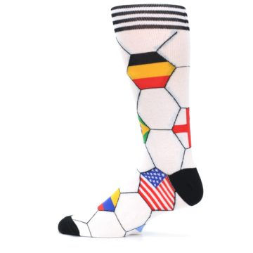 Image of White World Flag Soccer Men's Dress Socks (side-2-12)