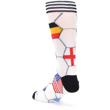 Image of White World Flag Soccer Men's Dress Socks (side-2-back-15)