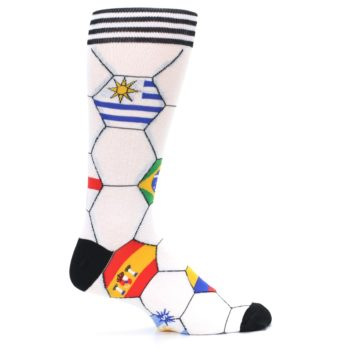 Image of White World Flag Soccer Men's Dress Socks (side-1-24)