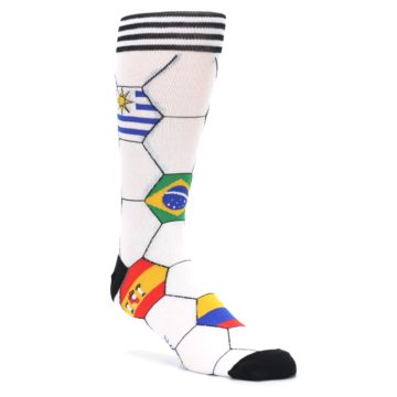 Image of White World Flag Soccer Men's Dress Socks (side-1-27)