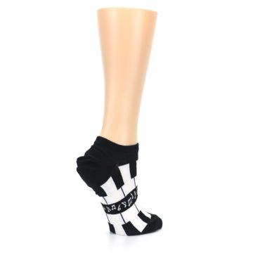 Image of Black White Piano Keys Women's Ankle Socks (side-1-23)