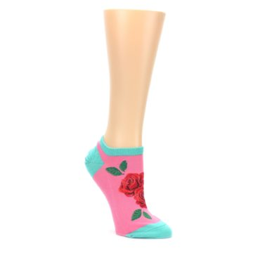 Pink-Teal-Red-Roses-Womens-Ankle-Socks-Socksmith