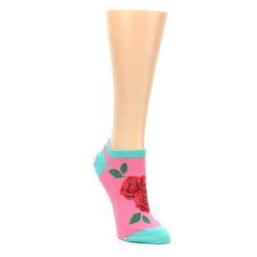 Image of Pink Teal Red Roses Women's Ankle Socks (side-1-front-02)
