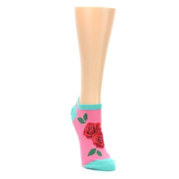 Image of Pink Teal Red Roses Women's Ankle Socks (side-1-front-03)