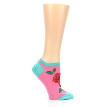 Image of Pink Teal Red Roses Women's Ankle Socks (side-1-25)