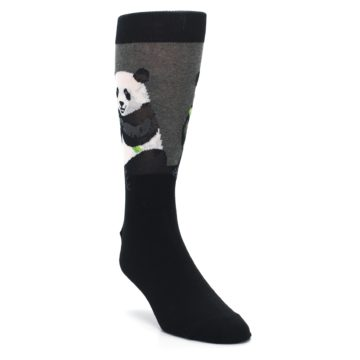 Image of Black Grey Panda Animal Men's Dress Socks (side-1-front-02)
