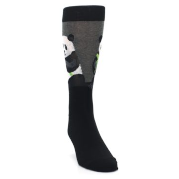 Image of Black Grey Panda Animal Men's Dress Socks (side-1-front-03)