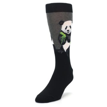 Image of Black Grey Panda Animal Men's Dress Socks (side-2-front-07)