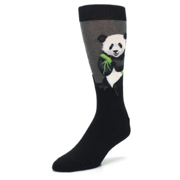 Image of Black Grey Panda Animal Men's Dress Socks (side-2-front-08)