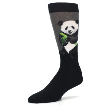 Image of Black Grey Panda Animal Men's Dress Socks (side-2-09)