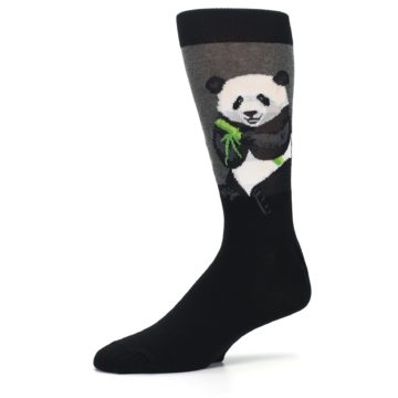 Image of Black Grey Panda Animal Men's Dress Socks (side-2-10)