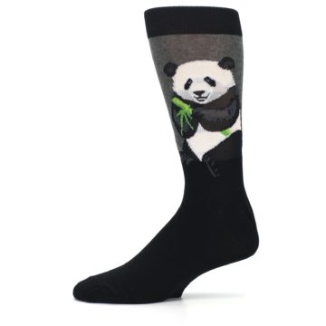 Image of Black Grey Panda Animal Men's Dress Socks (side-2-11)