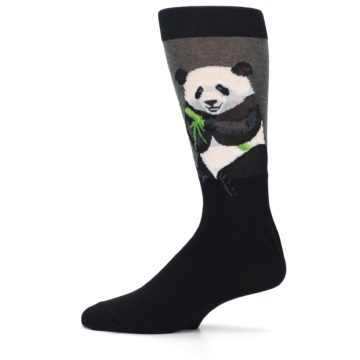 Image of Black Grey Panda Animal Men's Dress Socks (side-2-12)