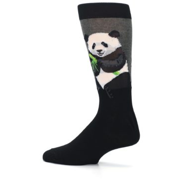 Image of Black Grey Panda Animal Men's Dress Socks (side-2-13)