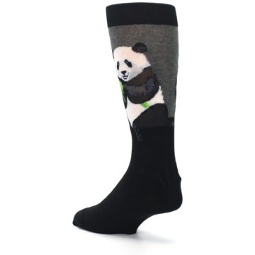 Image of Black Grey Panda Animal Men's Dress Socks (side-2-back-15)